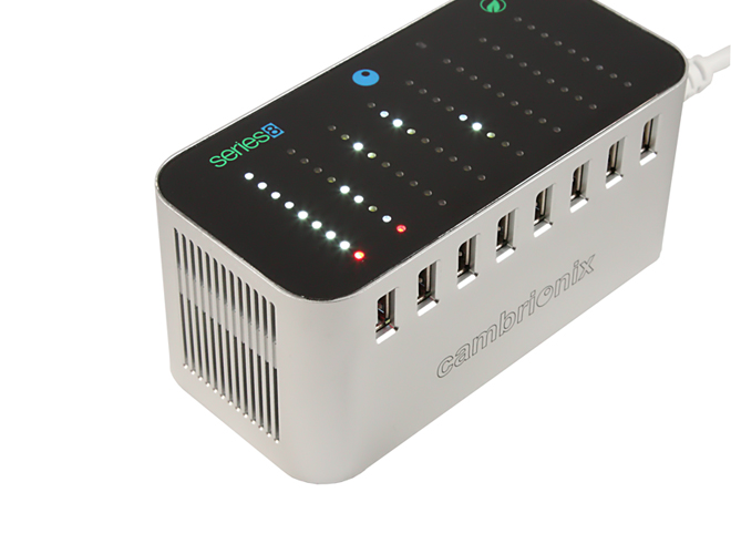 An Intelligent 8 Port USB Charge Station Perfect For Home And Office Use.